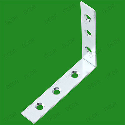 """2x 125mm (5"""") Corner Braces, L Shaped Right Angle Support Fixing Repair Brackets"""