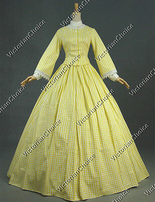 Civil War Period Gingham Day Dress Gown Reenact Theatre Clothing Punk 145 L