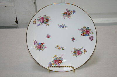 """Spode Dresden Rose Lunch Plate 8 7/8"""" Gold Trim Floral Pattern White Background"""