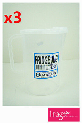 3pcs Fridge Jug With Lid 1.5L Plastic Clear Transparent Cup Jug Q113838