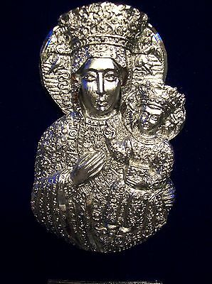 Vtg Religious Black Madonna Our Lady of Czestochowa Pewter  Picture Icon Italy