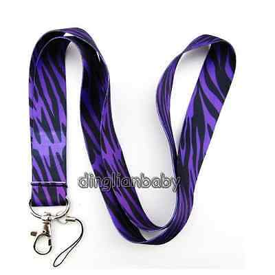 NEW 10 Pcs Purple zebra Mobile Phone card LANYARD Neck Strap Charms Gifts