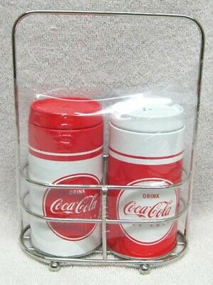 Coca-Cola Tin Salt And Pepper Shakers With Holder, New!