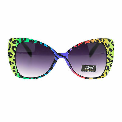 be78d43a2c Giselle Womens 80s Neon Color Leopard Animal Print Cat Eye Butterfly  Sunglasses