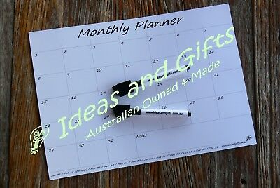 A4 Monthly Fridge Calendar Magnetic Whiteboard Family Organiser Memo Planner 2P