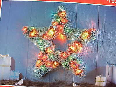 """24"""" Thick Tinsel lighted star, rings,stand, ground stakes included"""
