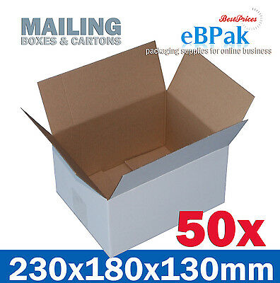 50x Mailing Box 230x180x130mm White Regular Slotted Shipping Carton RSC