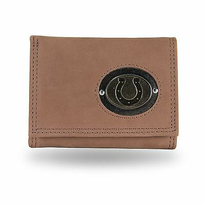 Indianapolis Colts All Leather Trifold Wallet /Brown -CLEARANCE
