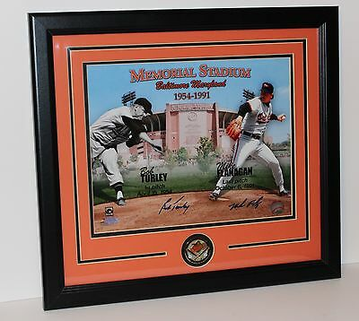 Bob Turley Mike Flanagan Authentic Signed Memorial Stadium MD Framed w COA