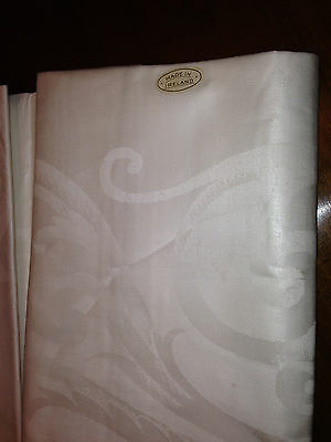 """Double Damask Irish Linen Tablecloth 54"""" Square Tag On"""
