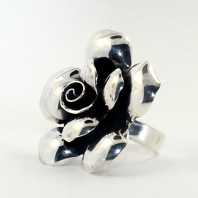 Antique Style Genuine Huge Blossom Solid Quality 925 Sterling Silver Ring Sz 6/7