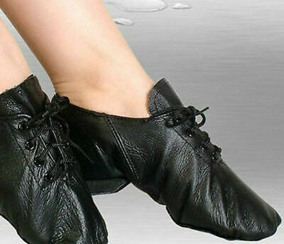 Womens Girls Black Leather Jazz Dance Ladies Kids Lace Up Split Sole Boots Shoes