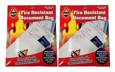 "2 Pack Fire Resistant Safe Document Protection Bag 1000 degree Size 10"" x 15"" US"