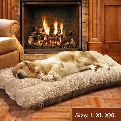 Large Luxury Dog Bed Puppy Pets Cat Cushion Pillow Mattress Warm Soft Fleece • EUR 15,39