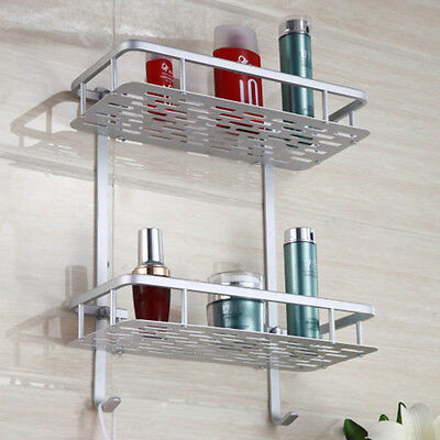 Two-layer Aluminum Basket Bathroom Towel Holder Rail Rack Soap Storage Shelf New
