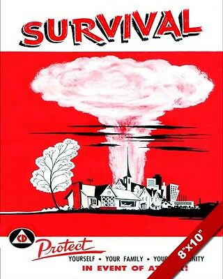 1950'S Vintage Cold War Nuclear Attack Propaganda Canvas Giclee Poster Art Print