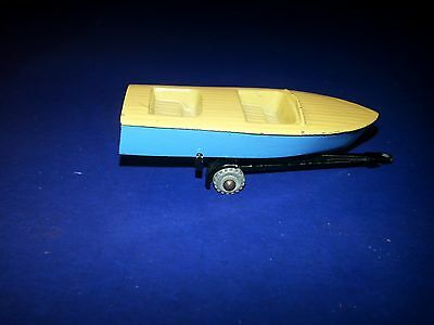 Vintage Matchbox Moko Lesney Meteor Sportsman Boat & Trailer GREY WHEEL #48