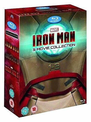 Iron Man 1-3 Blu-Ray Trilogy box Set 3 Movie Blue Ray 1 2 3 BRAND NEW