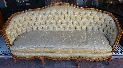 Antique French Louis XVI Style Carved Walnut Canapé France Circa 1905