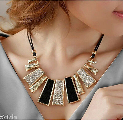 Fashion Jewelry Pendant Chain Crystal Choker Chunky Bib Statement Charm Necklace