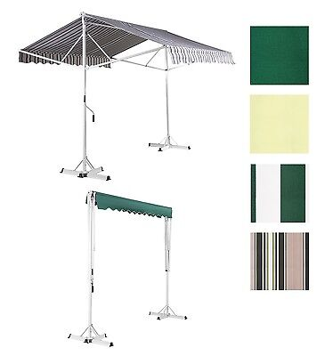 Free Standing Patio Awning Double Sided Manual Sun Canopy Shade Retractable
