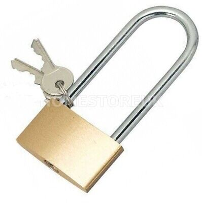 Long Shackle Brass Padlock Lock Security Locker Chest Hasp Shed With Spare Keys