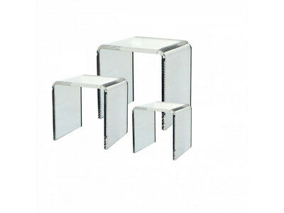 Set of 3 Different Sized Clear Acrylic Square Riser Display Stands