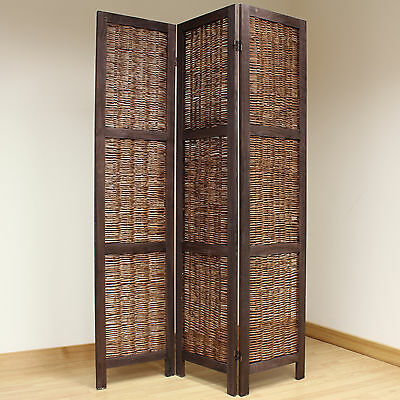 Brown 3 Panel Wood Frame Wicker Room Divider Privacy Screen/Separator/Partition