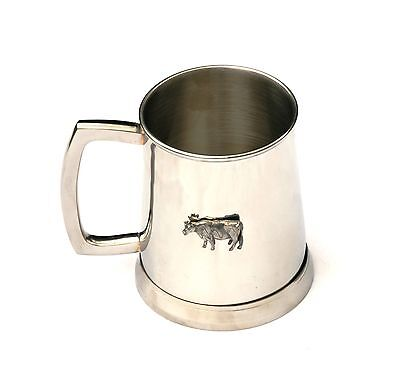 Dairy Cow Tankard 1 Pint Metal Drinking Mug Present Cattle Farming Gift