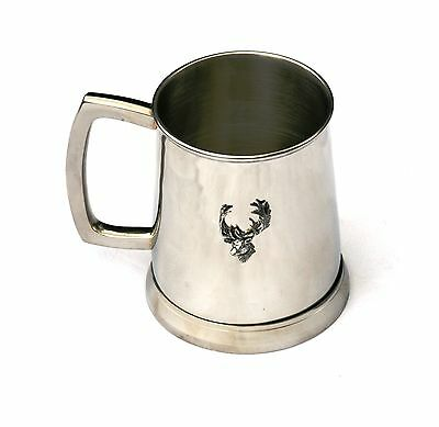 Fallow Deer Head Tankard 1 Pint Metal Drinking Mug Present Stalking Hunter Gift
