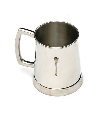 Straight Horn Tankard 1 Pint Metal Drinking Mug Present Fox Hunting Gift