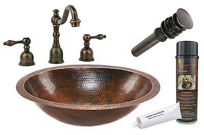 """Premier Copper Products BSP2_LO19FDB 19"""" Under Counter Copper Sink Package"""