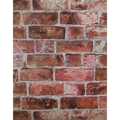 WALLPAPER BY THE YARD Red Brick Wallpaper | Embossed Textured Vinyl Bricks Stone