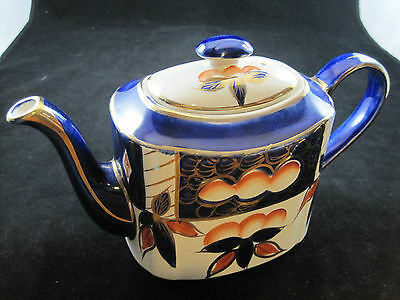 Blue and Gold Pitcher, Arthur Wood, Made in England. Staffordshire Ironstone