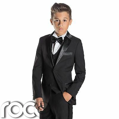 Boys Black Tuxedo, Boys Dinner Suit, Boys Slim Fit Suit, James Bond suit