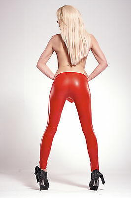 NEW Red Latex Rubber Unisex Footless Tights (ENGLISH) S M L XL