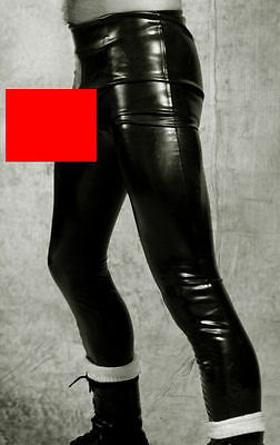 NEW Black Latex Rubber Unisex Footless Tights with Sheath (ENGLISH) S M L XL