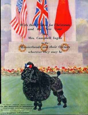 OLD 1945 Black Poodle by FT Daws Christmas Kennel Ad Advertisement Print