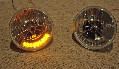 "Street Rod 7/"" H4 Prism Headlights w AMBER LED Turn Signals Halo Style No Tri Bar"