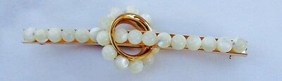 Vintage Napier Signed Gold Tone Bar Pin Mother Of Pearl Detail