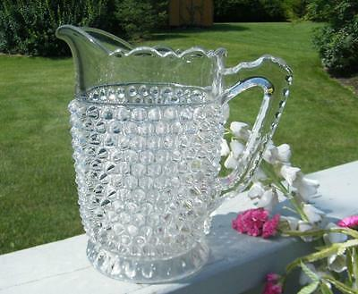 ANTIQUE EARLY AMERICAN EAPG 1890 GLASS POINTED HOBNAIL 5 CUP LARGE WATER PITCHER