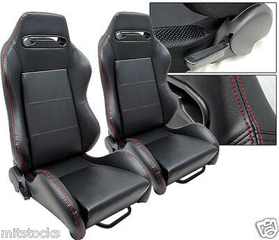 2 Black Leather + Red Stitch Racing Seats Reclinable + Sliders Pontiac New **