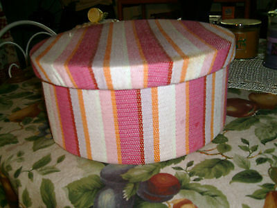 """RARE EXCELLENT VINTAGE PINK STRIPES CLOTH HAT BOX-VERY NICE,CLEAN-11.5"""" DIA.."""