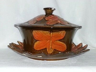 Calif Pottery USA 373-372 And 374 Ceramic Plate, Bowl & Lid With Leaf Pattern