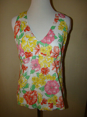 Talbots Pink Yellow White Floral Flower Blouse Top Petites Size