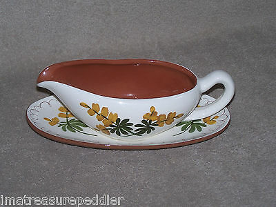 Stangl Golden Blossom Gravy Boat with Liner Plate