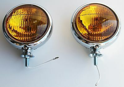 "NEW UNIVERSAL Amber 12 volt 5"" Chrome Fog Lights - Pair Chevy Ford Buick Olds"