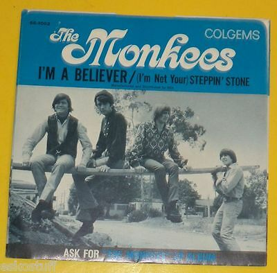 The Monkees - I'm A Believer / Steppin' Stone - 1966 Picture Sleeve only See!