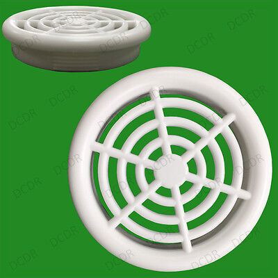 4x White Roof Soffit Round Air Vents Eaves 48mm Grille 44mm Hole Ventilation
