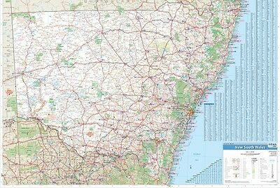 MAP OF NEW SOUTH WALES (LAMINATED) POSTER 70x100CM STATE NSW ROAD WALL CHART NEW